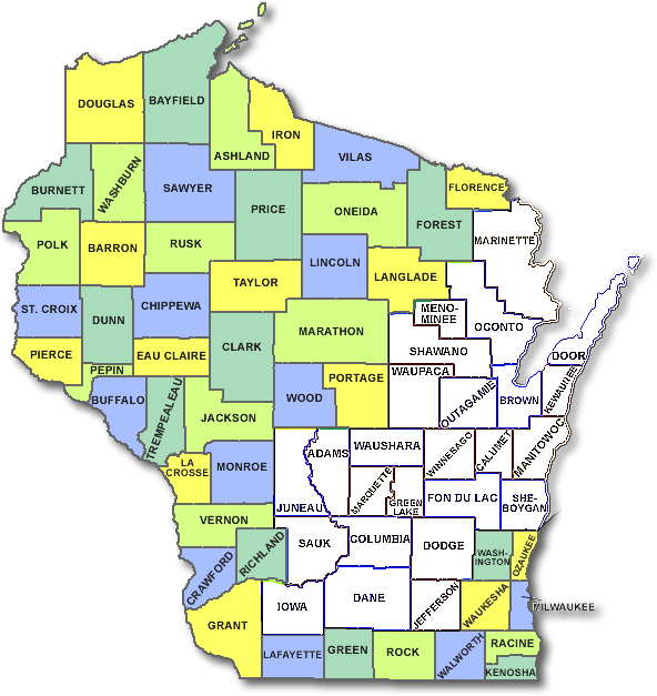 wisconsin-counties-map-25 - Sun Comfort Wisconsin